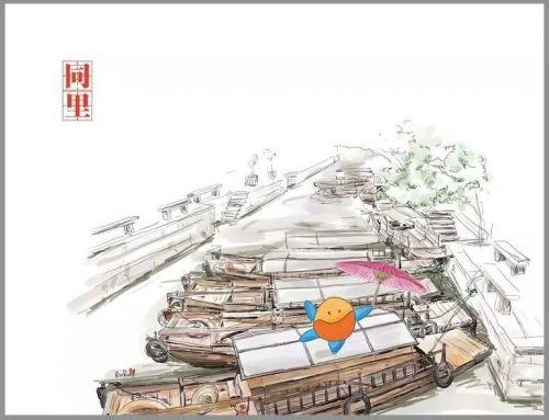 网师园 手绘图片