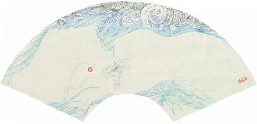 《青花亦舞》 30X50cm 纸本 2014年 年