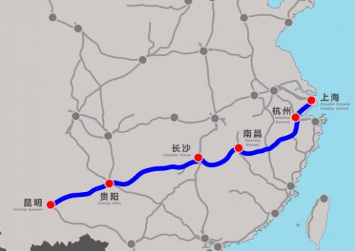部分,沪昆高铁贵州段东起贵州省铜仁市玉屏县,向西经凯里、贵阳、