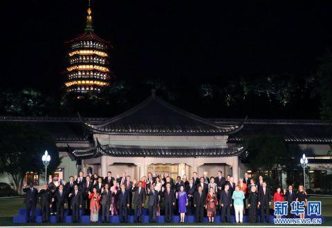 习近平和彭丽媛欢迎出席二十国集团领导人杭州峰会的外方代表团团长及所有嘉宾