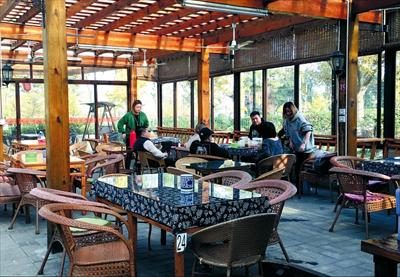 图:阳光明媚的午后,游客在清风小院聚会喝茶。