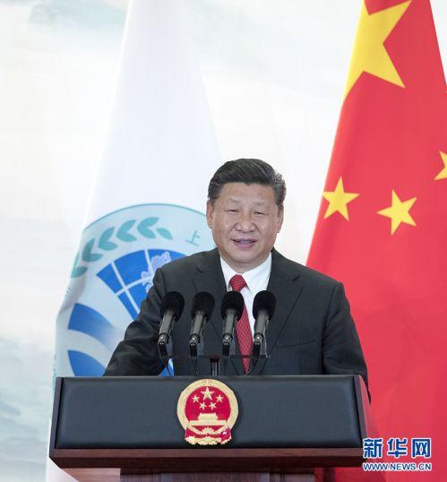 6月9日,国家主席习近平在青岛国际会议中心举行宴会,欢迎出席上海合作组织青岛峰会的外方领导人。这是习近平发表致辞。 新华社记者谢环驰摄