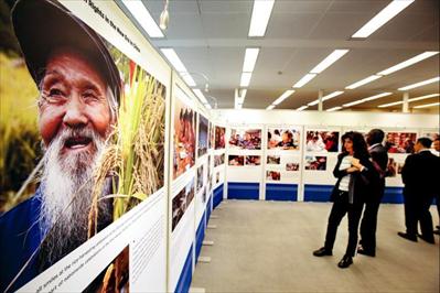 """11月5日,在瑞士日内瓦联合国万国宫,来宾参观""""新时代中国人权事业的发展""""展览。新华社记者 徐金泉摄"""
