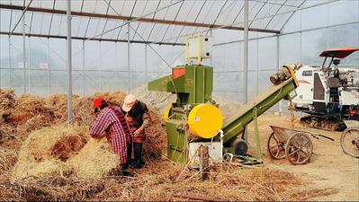图:新农机将秸秆打捆,工作人员将秸秆团送入有机肥生产线,制作秸秆肥。